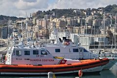 genoa Barcos de guarda costeira imagem de stock