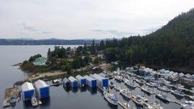 Genoa Bay aerial view in Vancouver Island.  stock photos