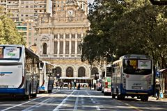 Genoa. Bus station and train station stock photography