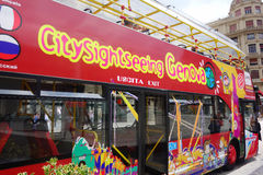 Genoa City Sightseeing Red Bus-Nahaufnahme Stockbild