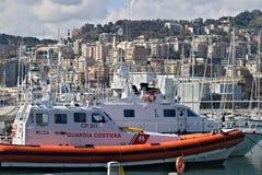 Genoa. Coast Guard boats stock image