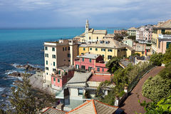Genoa - the colorful old houses of Boccadasse borough- Liguria. Boccadasse is a tiny fishing village located at the end of Corso Italia. Italy royalty free stock photos