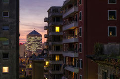 Genoa in the evening. View from the inside of the residential neighbourhood of Genoa, San Teodoro, to the famous skyscraper San Benigno North Tower, also known Stock Images