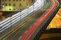 Genoa Flyover på natten arkivbild
