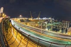 Genoa Flyover på natten arkivfoto