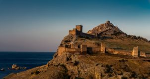 Genoa fortress in Crimea. Genoa fortress on peninsula Crimea, horizontal photo royalty free stock image