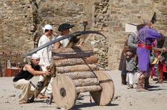 Genoa fortress. Sudak, Crimea - August 14: Preparation for battle in Genoa fortress on August 14, 2015  in Sudak, Crimea Royalty Free Stock Photography