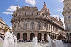Genoa. Fountain of Piazza de Ferrari royalty free stock photo