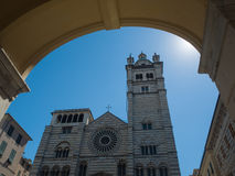 Genoa (Genova) romananesque catholic cathedral of saint Lawrence. Framed by an arch Stock Photo