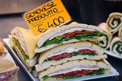 Genoa ham sandwich in Venice Royalty Free Stock Photo