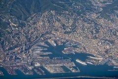 Genoa harbor aerial view Stock Photos