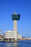 Genoa, harbor control tower Stock Photos