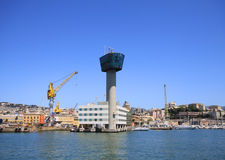Genoa, harbor control tower and general view Royalty Free Stock Photo