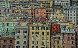 Genoa harbor houses cityscape panorama Stock Photos