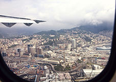 Genoa harbor, view from the landing aircraft Stock Photography