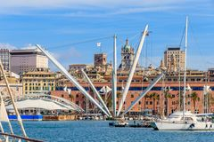 Genoa harbors with panoramic lift situated in the middle of Genoa`s Porto, Italy royalty free stock images
