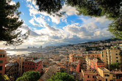 Genoa italian historic touristic city, beautiful cityscape with harbor. Stock Photography
