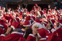 GENOA, ITALY - DECEMBER 22 2019 - Traditional Santa claus walk