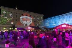 GENOA, ITALY - DECEMBER 22 2019 - Traditional Christmas market in De Ferrari Place