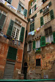 Genoa Italy. City windows To dry linen Royalty Free Stock Image