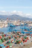 GENOA, ITALY - APRIL 10, 2016: Elevated view of commercial port Royalty Free Stock Photo