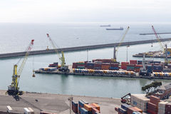 GENOA, ITALY - APRIL 10, 2016: Elevated view of commercial port Stock Photos