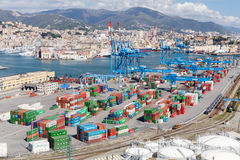 GENOA, ITALY - APRIL 10, 2016: Elevated view of commercial port Stock Photography
