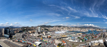 GENOA, ITALY - APRIL 10, 2016: Elevated view of Genoa and our commercial port Royalty Free Stock Image