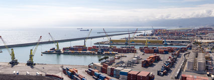 GENOA, ITALY - APRIL 10, 2016: Elevated view of port Stock Photos