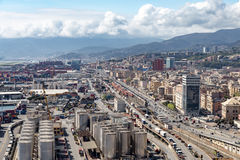 GENOA, ITALY - APRIL 10, 2016: Elevated view of Sampierdarena Stock Photos