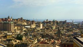Genoa, Italy - August, 2019: Pan view of the city from Spianata Castelletto stock video footage