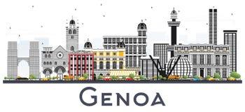 Genoa Italy City Skyline avec des bâtiments de couleur d'isolement sur le blanc illustration de vecteur