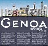 Genoa Italy City Skyline avec les bâtiments de couleur, le ciel bleu et la copie illustration de vecteur
