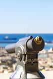 Genoa, Italy. Closeup of touristic monocular for view at Genoa, Italy Stock Photo