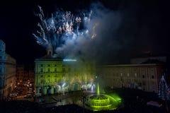 GENOA, ITALY - DECEMBER, 19 2015 - Happy new year and merry xmas fireworks Royalty Free Stock Image