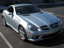 Mercedes SLK side view silver car