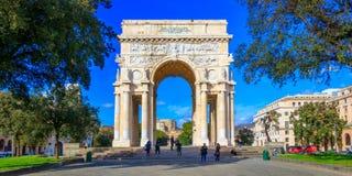 The Arco della Vittoria - Victory Arch, dedicated to the Genoese who died during World War I, Genoa. The Arco della Vittoria, also known as Monumento ai Caduti stock photo