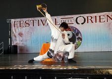 Genoa-Italy March 8, 2019: The Chinese Kung Fu Tea of the master Jin Gang Xiaosci at the festival of the East of Genoa. The tea ceremony along with the kung fu royalty free stock photo