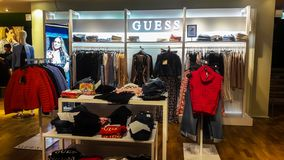 Fashion Guess  brand shop in Genoa, Italy royalty free stock images