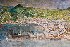GENOA, ITALY - MARCH 29, 2014: Fresco mural painting depicting the city of Genoa in the XVI century Stock Photos