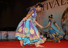Genoa Italy-March 9th -2019: traditional oriental Indian dance at the festival of the East in Genoa. The Indian classical dance is very refined in the state of stock image