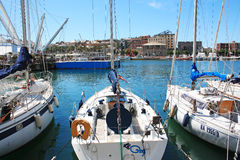 GENOA, ITALY - MAY 13, 2013: Yachts at the marina in the city's port. Stock Photo