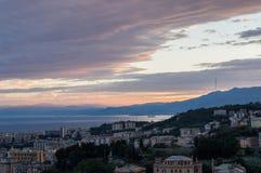 Genoa, Italy Opinião do por do sol da cidade Imagem de Stock Royalty Free