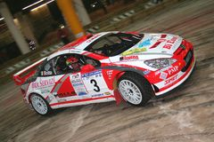 Genoa Italy - A Peugeot 307 coupe race car during the first time trial of the 24th Rally Della Lanterna royalty free stock image