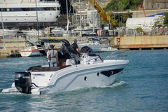 Genoa: 57th Boat Show. Genoa italy, September 24 2017. 57th Boat Show: Customers test the boat at sea Royalty Free Stock Images