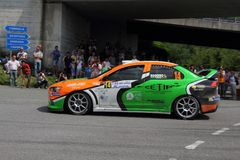 Genoa Italy-31st Rally Della Lanterna June 6th 2015: Mitsubishi Evo VIIIrace. Genoa Italy-31st Rally Della Lanterna June 6th 2015: A Mitsubishi Evo VIII race car stock photos