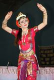 Genoa Italy-09-03-2019: Traditional oriental Indian dance Odissi dance at the festival of the East in Genoa. The odissi dance is a very refined form of Indian royalty free stock photos