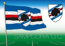 GENOA, ITALY, YEAR 2017 - Serie A football championship, 2017 flag of the Sampdoria team. Sampdoria UC football club flag and seal, vector file, illustration Royalty Free Stock Image
