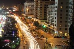Genoa na noite: Corso Italy e a boca Fotografia de Stock