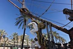 Genoa. Neptune galleon anchored in the port stock image